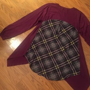 Sweaters - Crew Neck Cashmere Purple Plaid Sweater